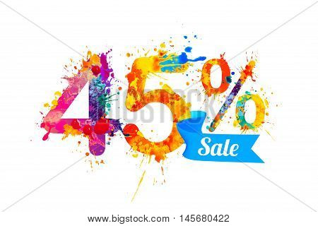 forty five (45) percents sale. Vector splash paint
