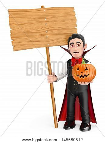 3d halloween people illustration. Funny monster. Vampire with a blank wooden sign and a pumpkin. Isolated white background.