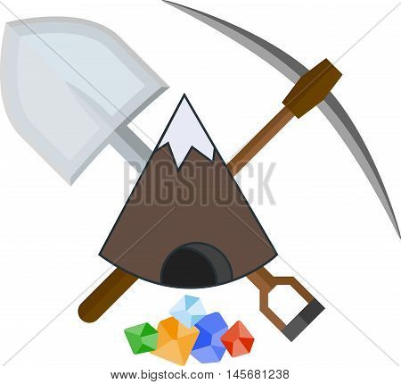 Flat icon with mountain and mining tools