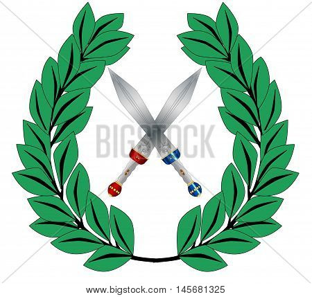 A crown of olives and a two crosse gladiator sword isolated on a white background