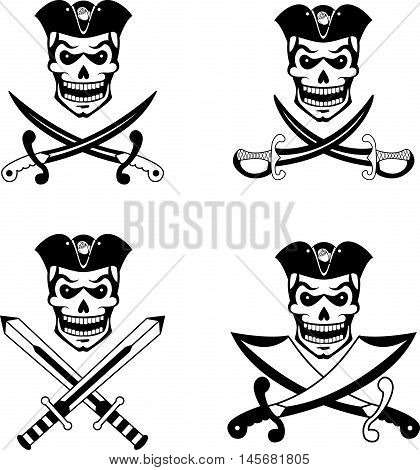 Black set of pirate emblems with skulls and swords