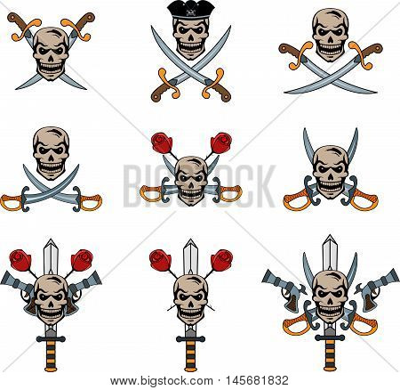 Set of pirate emblems with skulls and swords