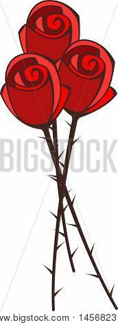 Abstract graphic bouquet of red roses with thorns