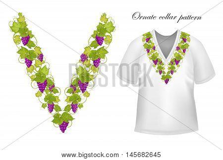 Neck print vector floral design. Fashion grapes ornament collar. Vector illustration. Purple green