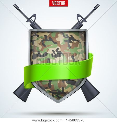 Camouflage Shield with ribbon and rifles. Editable Vector Illustration isolated on white background.