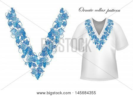 Vector design for collar shirts, blouses, T-shirt. Grapes branch. Colorful embroidery. Seamless border bonus. Blue