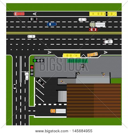 Plot road, highway, street, with the store. Crossroads. Bus stop. With different cars. Congestion and parking cards. Top view of the highway. Vector illustration