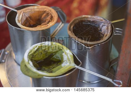 local set of making of tea coffee green tea on a metal pot, thai vintage style