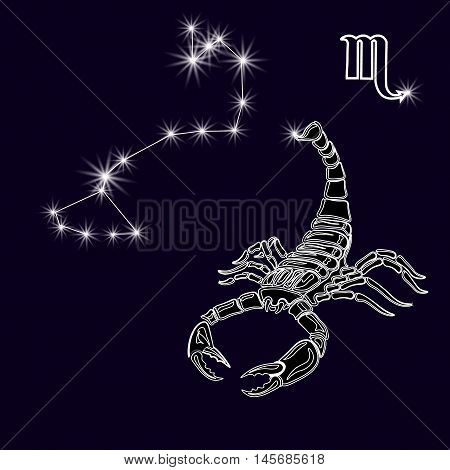 The constellation Scorpius. White scorpion, zodiac sign. Tattoo. Made with a predominance of white on a dark background. Vector illustration