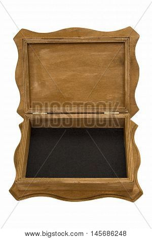 casket wooden brown. brown casket open on a white background