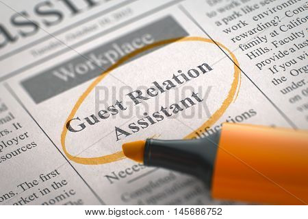 A Newspaper Column in the Classifieds with the Jobs of Guest Relation Assistant, Circled with a Orange Highlighter. Blurred Image with Selective focus. Job Search Concept. 3D Rendering.