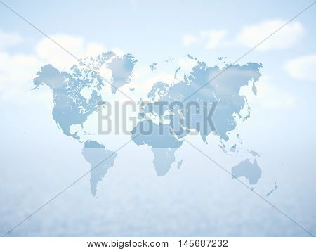 Blank Grey Political World Map. 3D rendering. Empty white clouds background. High textured row materials. Mockup ready for business information. Horizontal