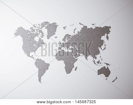 Blank Grey Concrete Texture Political World Map. 3D rendering. Empty wall background. High textured row materials. Mockup ready for business information. Horizontal
