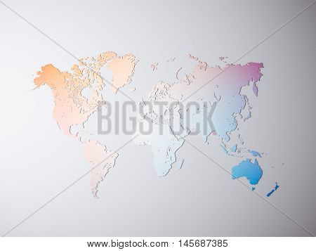 Clear Multicolor Texture Political World Map. 3D rendering. Empty Concrete wall background. High textured row materials. Mockup ready for business information. Horizontal