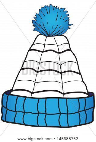 Illustration of a blue children cap with a pompon