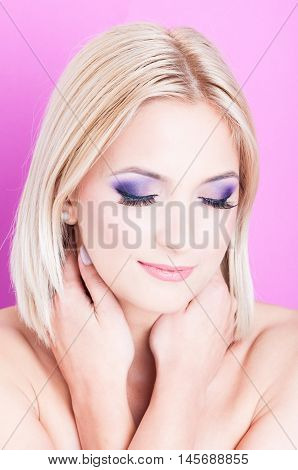 Woman Posing With Eyes Closed As Beauty Concept