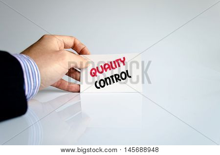 Quality control text concept isolated over white background