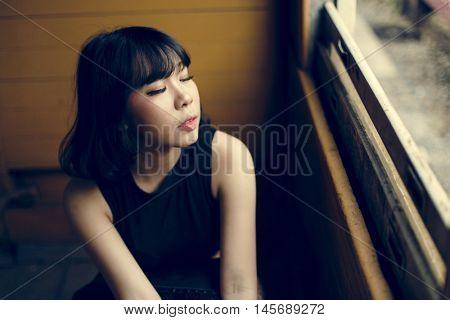 Asian Ethnicity Teen Feminist Posing Lady Girl Concept