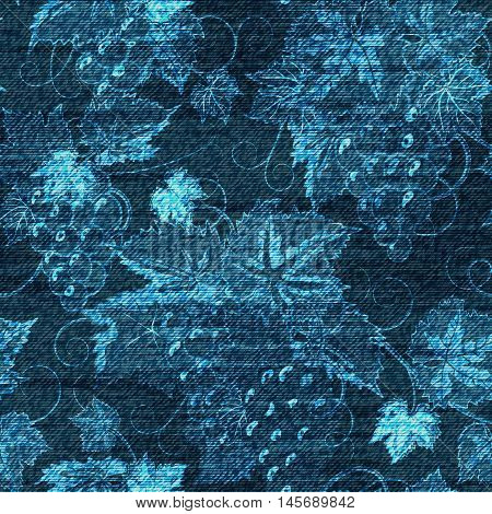 Vector Denim floral seamless pattern. Jeans background with grapes. Blue jeans cloth background
