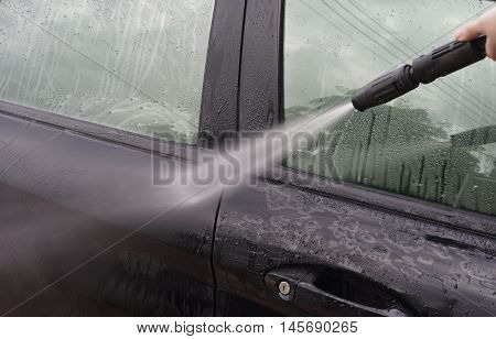 Car Washing,Cleaning Car Using High Pressure Water by woman,woman can wash,woman can do