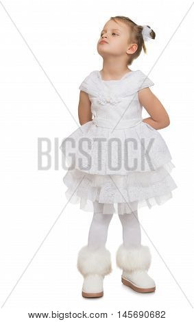 Offended little girl turned away from the camera. - Isolated on white background
