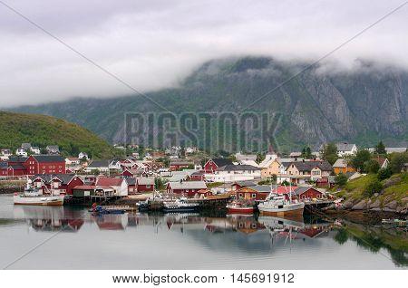 Foggy weather in fishing village on Lofoten Islands in Norway