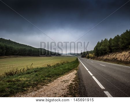 Road near Bilbao in the North of Spain in Europe during summer