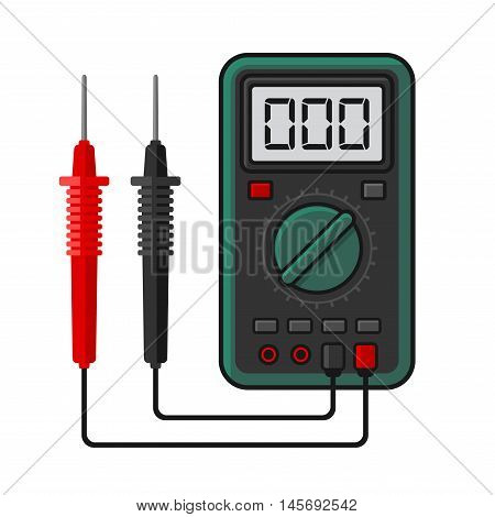Digital multimeter. Electrical Measuring Instrument Voltage Amperage Ohmmeter and Power. Vector Illustration