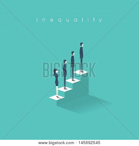 Inequality concept vector illustration man versus woman in business. Difference and discrimination in professional work life, career promotion. Eps10 vector illustration.