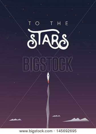 Man flying with a rocket to the stars as symbol of personal growth and career progress, development. Space exploration or startup business. Eps10 vector illustration.