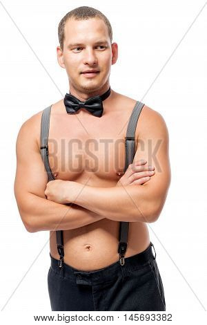 Young Stripper In Suspenders And A Bow Tie On A White Background