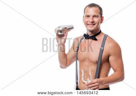 Sexy Naked Barman Prepares A Delicious Cocktail
