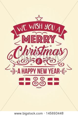 Merry Christmas Happy New Year Typographic Greeting Card