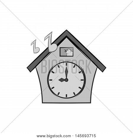 Cuckoo clock icon in black monochrome style isolated on white background. Time symbol. Vector illustration