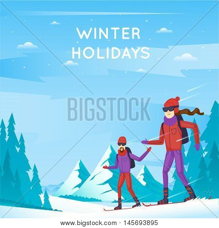 Snowboard. Young man and woman on snowboard. Winter Sports. Winter mountain landscape, vacation in the mountains in nature. Flat design vector illustration.