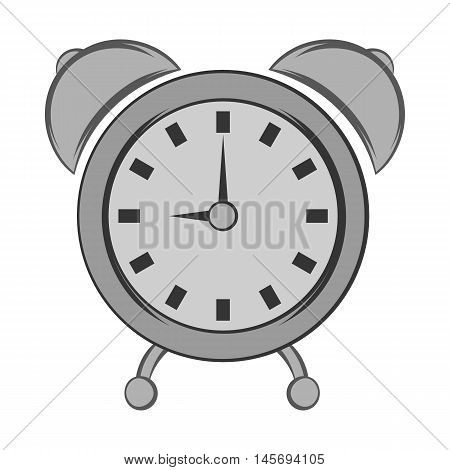 Alarm clock icon in black monochrome style isolated on white background. Time symbol. Vector illustration