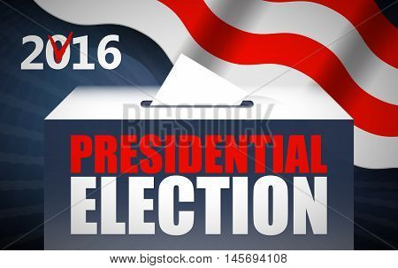 USA presidential election day concept vector illustration. Putting voting paper in the ballot box with american flag on background. Voting concept in flat style.