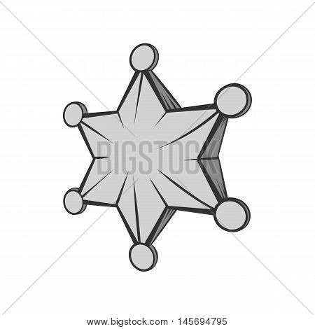 Six pointed star icon in black monochrome style isolated on white background. Figure symbol. Vector illustration