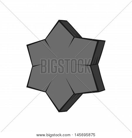 Convex star icon in black monochrome style isolated on white background. Figure symbol. Vector illustration