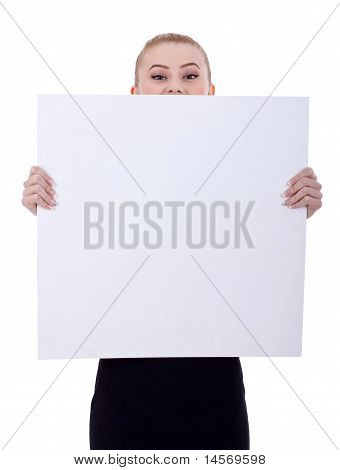 Business Woman Holding A Blank Billboard