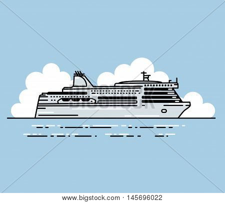 Ferry boat and clouds. Vector illustration in linear stile. Transportation Concept