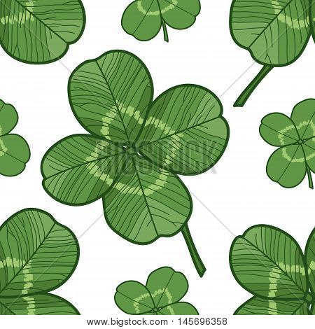 Clever trefoil vector seamless pattern green leaves