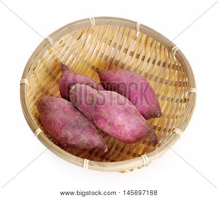 yam potatoes close up on white background