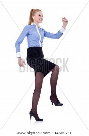 Business Woman Climbing Imaginary Stairs