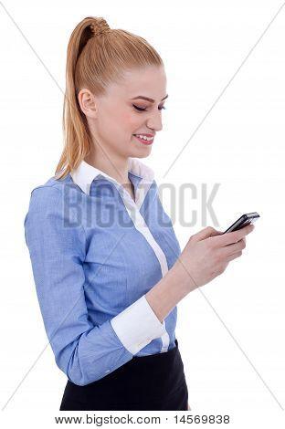 Businesswoman Writes A Text Message