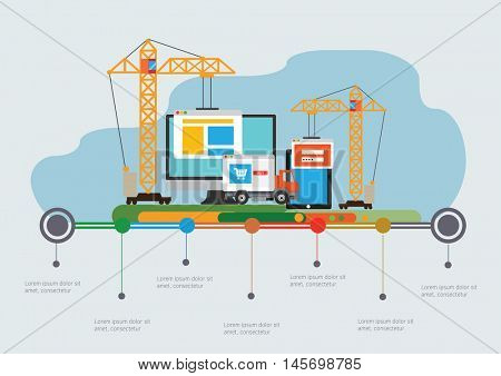Flat design of website under construction, web page building process. Infographics time line template.