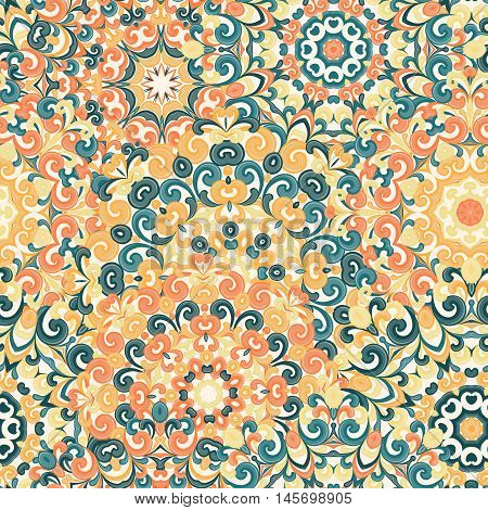Seamless colorful ethnic pattern with mandalas in oriental style. Round doilies with blue yellow orange green curls and swirls weaving in arabesque traditional lace ornament. Vector illustration.