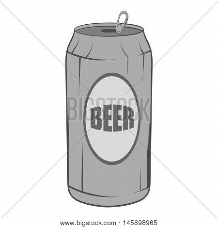 Aluminum beer icon in black monochrome style isolated on white background. Drink symbol. Vector illustration