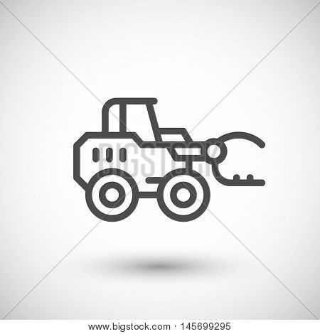 Hay loader tractor line icon isolated on grey. Vector illustration