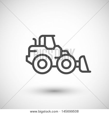 Wheel loader line icon isolated on grey. Vector illustration